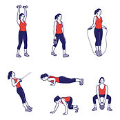 woman doing a fitness workout line art illustrations