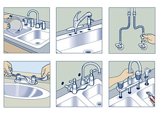 Installing faucets how-to technical illustration