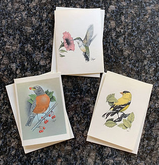 hummingbird, robin, goldfinch greeting cards