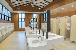 Row of modern white ceramic wash basin i