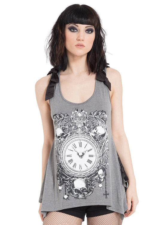"""Death Clock"" Top - Grey"
