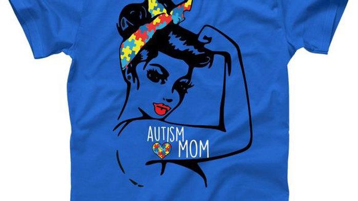 Autism Mom Autism Strong Blue T-shirt