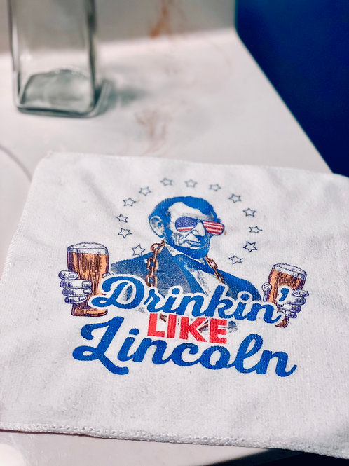 Drinking Like Lincoln Funny Microfiber Hand Towel