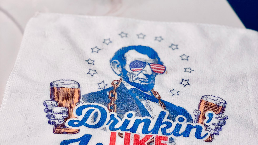Drinking Like Lincoln Funny Microfiber Hand Towel