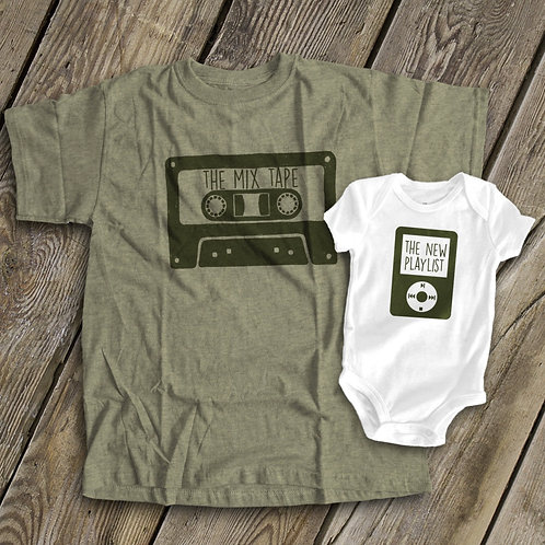 Army Green Adults Tape child size MP3 player parent and kids T-shirt's