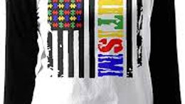 Autism Awareness American Flag Distressed T-Shirt
