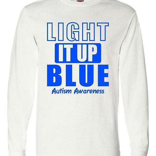 Light It Up Blue Long Sleeve Unisex Autism Acceptance Shirt