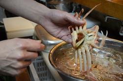 Préparation du crabe
