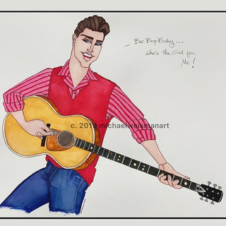 """Be Bop Baby...she's the gal for me. ._-Ricky Nelson_""""Be Bop Baby""""_August 1957__#Inktober #"""