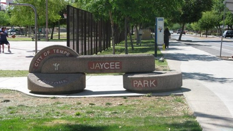 Jaycee Park in Tempe, near where surveillance cameras caught a woman resembling Adrienne Salinas walking the night she vanished.