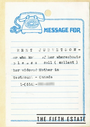 Note to Reet Jurvetson from her mother. Courtesy of The Fifth Estate.