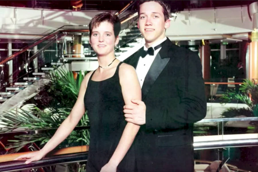 Amy Bradley and her younger brother Brad, on an upper deck of the Rhapsody of the Seas cruise ship.