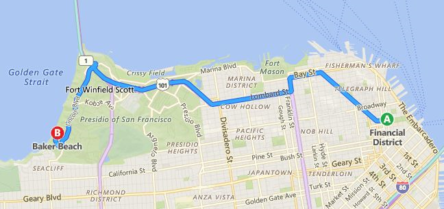 Baker Beach, near Land's End beach is approximately 6 miles from the Crocker Galleria where Kristen was last seen.