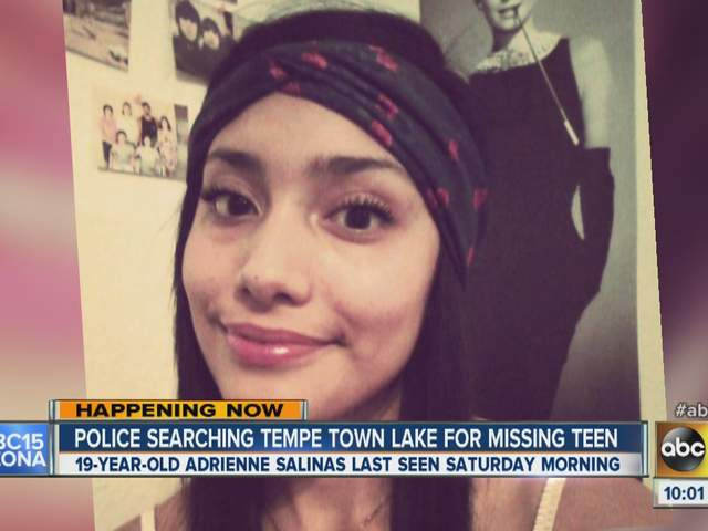 Police searched Tempe Town Lake with sonar in the attempt to locate Adrienne Salinas.
