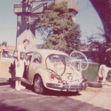 One of the only pictures of Ted Bundy and his infamous 1968 Volkswagen Bug he used to prowl for victims.