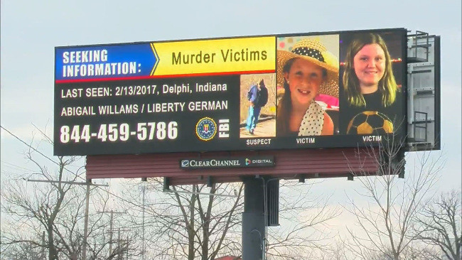 Billboards with information about the Delphi murders have been placed on roads throughout the country soliciting tips.