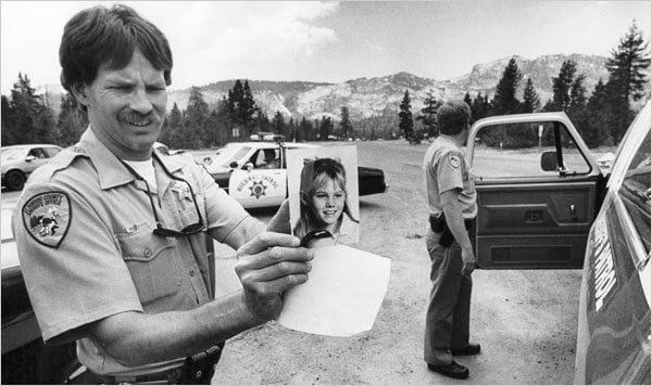 El Dorado Sheriff's deputies, along with Calfornia Highway Patrol search for Jaycee after she was abducted  by strangers while walking to her school bus stop in 1991.