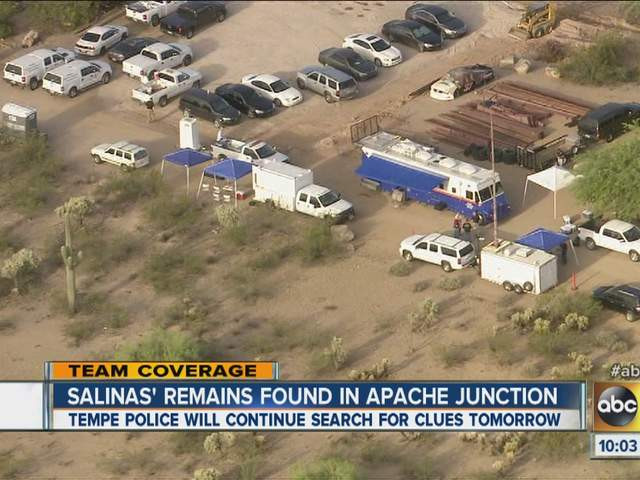 Police search area of Apache Junction wash for evidence related to the murder of Adrienne Salinas.