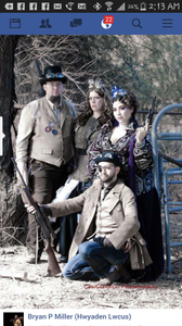 Bryan Patrick Miller and other Steampunk enthusiasts at professional photoshoot in Apache Junction.