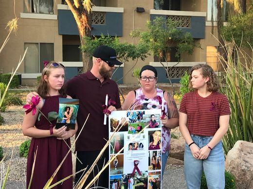 Kiera Bergman's mother and family old vigil outside her daughter's apartment in Glendale, Ariz.