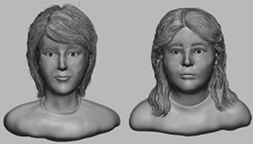 Facial reconstructions made with assistance of BBC and the National Center for Missing & Exploited Children.