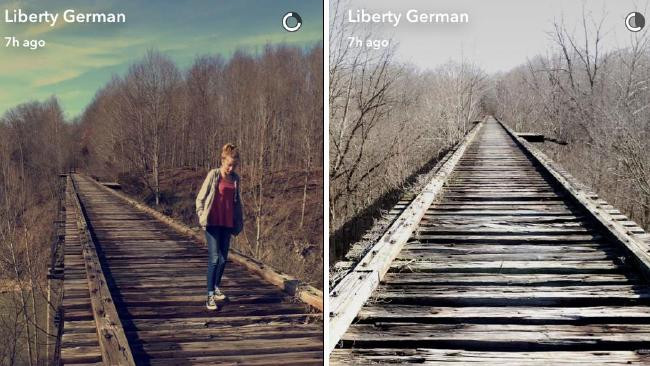 "Photograph Libby German posted on Snap Chat of Abby"" Williams walking on the Monon High Bridge, Delphi, Indiana."