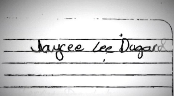 2009, the piece of paper Jaycee Dugard wrote her name on telling police officers who she is.