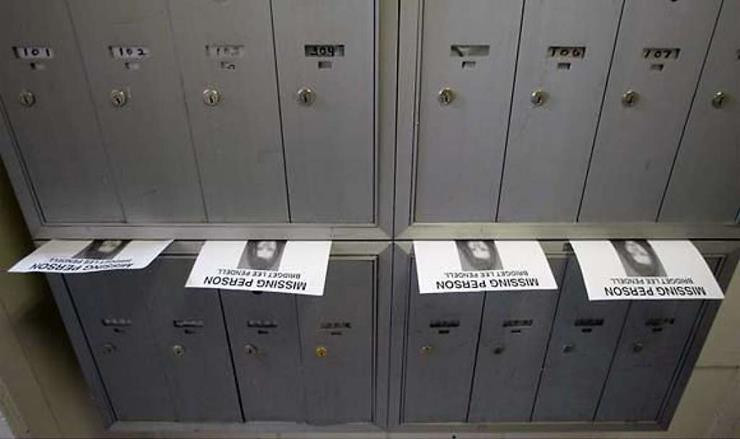 Jackie Horne leaves missing person posters on mailboxes in the Haight district of San Francisco. Photo courtesy of SF Gate/Flier courtesy Kym Pasqualini - National Center for Missing Adults.
