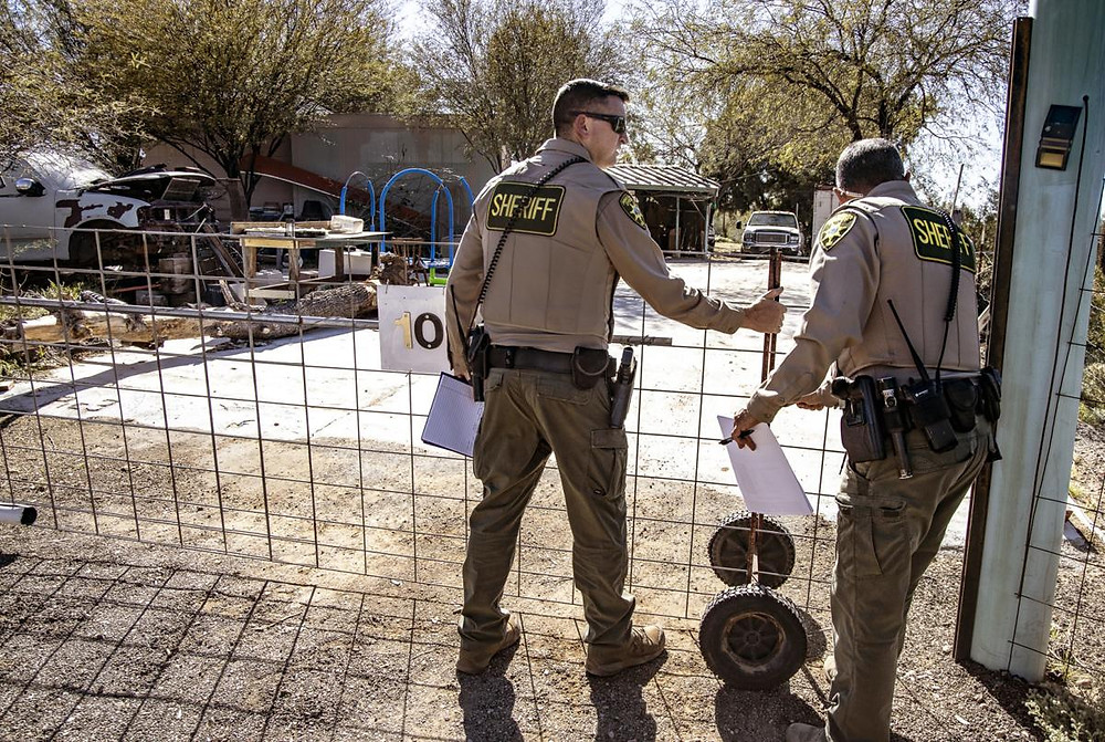 Pima County Sheriff's Department searching the Galloway property in Picture Rocks, Ariz. Photo courtesy of the Daily Star.