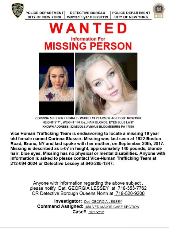 NYPD missing person poster of Corinna Slusser.