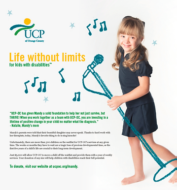 Flyer of a young girl holding a cartoon microphone and music notes