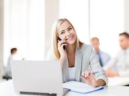 business concept - businesswoman talking