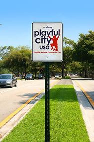 Playful city USA sign