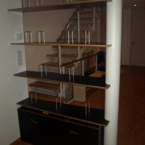 Büchergestell Sperrholz Birke schwarz