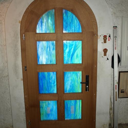 Rundbogen Eingangstüre Eiche massiv gestemmt mit Verglasung
