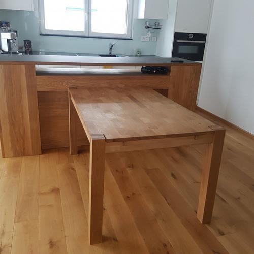 Küchenschrank Eiche massiv geölt mit Lino- Abdeckung