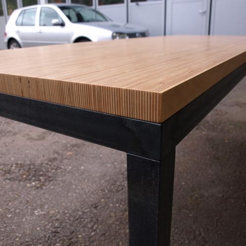 Tischblatt Sperrholz Stirnseitig, Untergestell Stahl