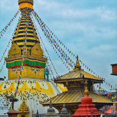 Buddhist stupa and prayer flags