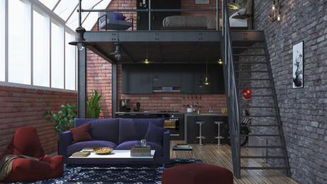 Industrial interior design Render