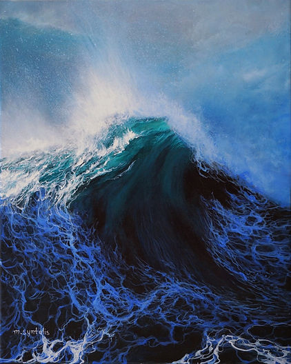 Wind wave oil seascape painting by contemporary artist Marina Syntelis. Dark blue, turquoise translucent ocean wave, white crested, fierce, powerful, mysterious, atmospheric. Inspired by Aivazovski rough waters and Turner sky.