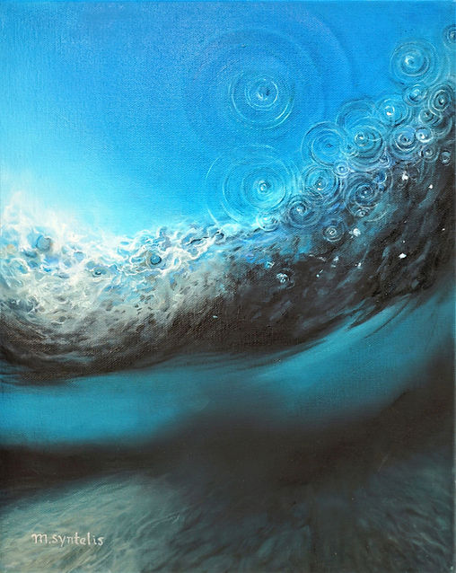 Seascape Oil painting by fine artist Marina Syntelis beneath surface of ocean. Blue peaceful deep sea water.