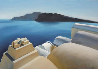 Santorini seascape oil painting. White, beige cycladic rooftops, calm blue Aegean water, black volcanic island in the distance.