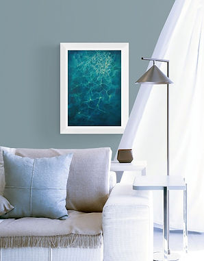 "Interior design suggestion for ""Deep II"" blue, turquoise painting hung on living room wall with furniture."