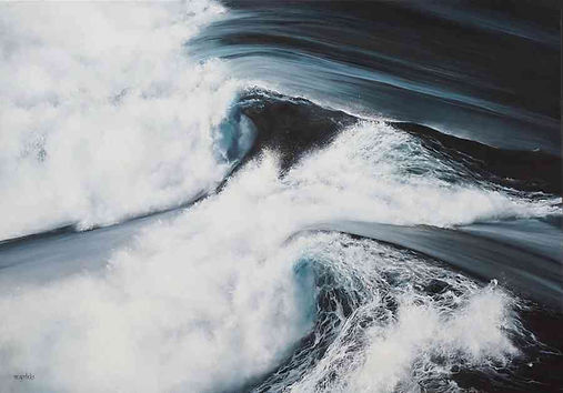 Twin Waves Seascape Oil Painting by Mari
