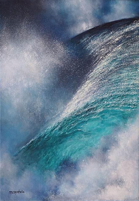 """Original oil color painting by Marina Syntelis titled """"Charybdis"""". Inspired by the abstract space created in nature. Evoking feelings of movement, power, explosion. The spray of the water creates a transparent cloud, surrounded by the ocean in a dreamy composition."""