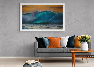 "Marina Syntelis Original Seascape Oil Painting titled ""Occasus"". A Turner like orange sky is combined with a transculent ocean wave creating a unique atmosphere and enhancing the feeling. Inspired by the power of the wave as it crushes. View how it looks in a room"