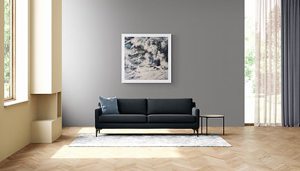 Original Seascape Artwork Titled Concrete Ocean in a living room with couch.