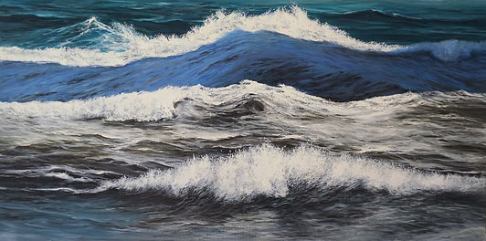 A rectangual original painting in oils, by Marina Syntelis. This original piece of fine art is separated into for parts, presenting different versions oif the seawaves in the same paintinhg.