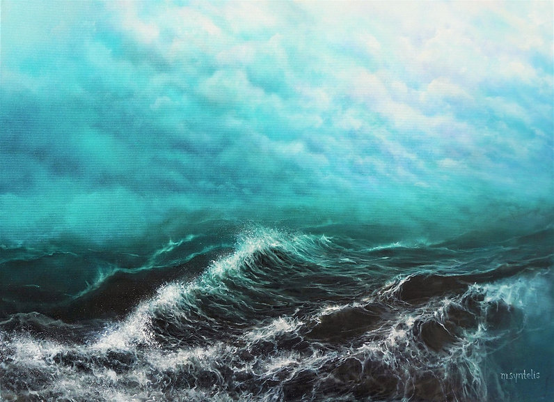 Underwavaves Seascape Oil Painting by Marina Syntelis