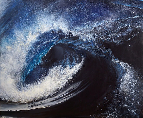 Original oil seascape painting by contemporary fine artist Marina Syntelis. Inspired by the force of the crashing wind waves, Aivazovski, Turner. Bright white, aqua, blue rolling wave, creating a dark tunnel leading to the abyss, evoking mystery, fear, force, ocean power.